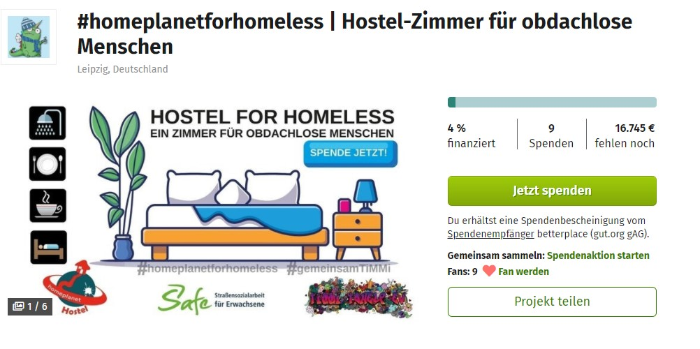 Betterplace Spendenaktion Hostel for Homeless